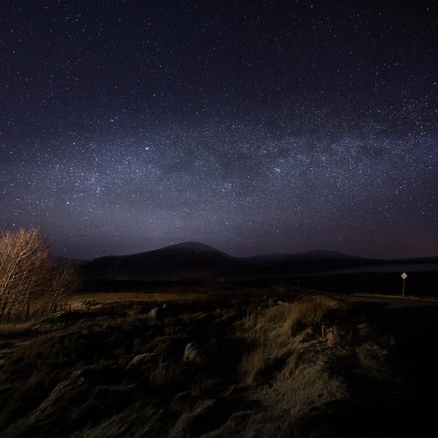"""""""Milky way above Glencoe"""" stock image"""