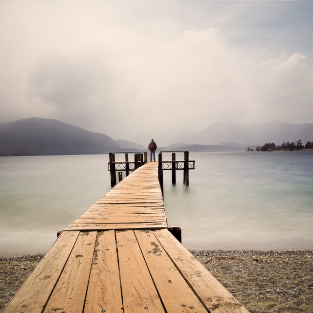 """Te Anau Lake, south island NZ"" stock image"