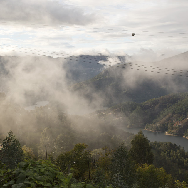"""""""Low cloud along the valley"""" stock image"""