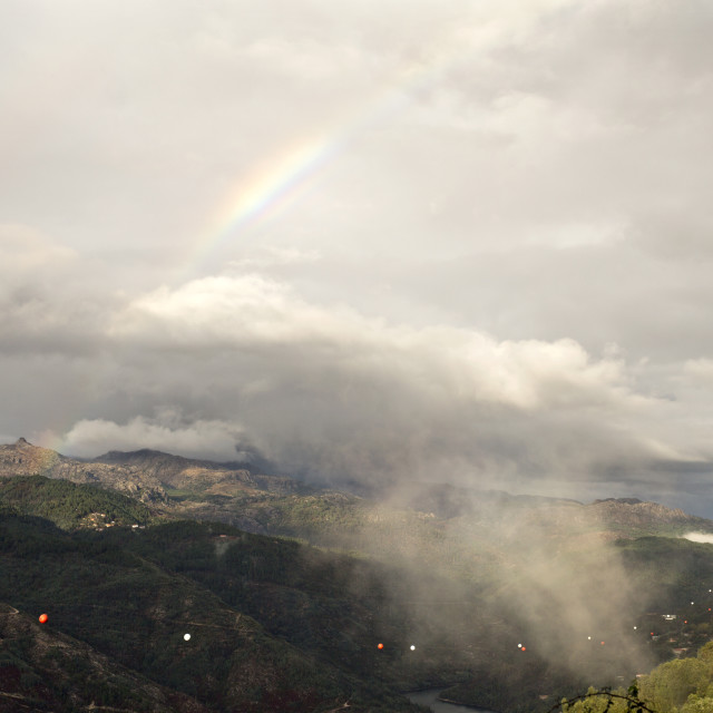 """""""Rainbow and Low Cloud on the Valley"""" stock image"""