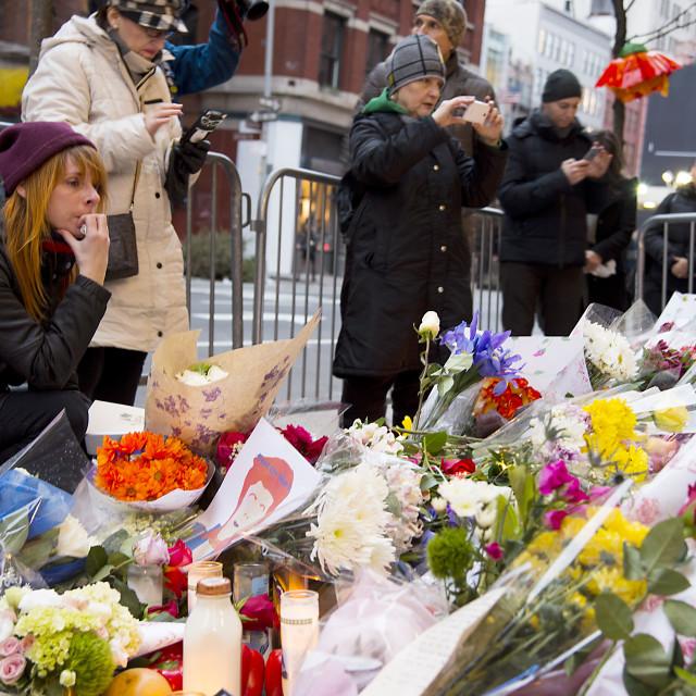 """David Bowie Memorial NYC"" stock image"