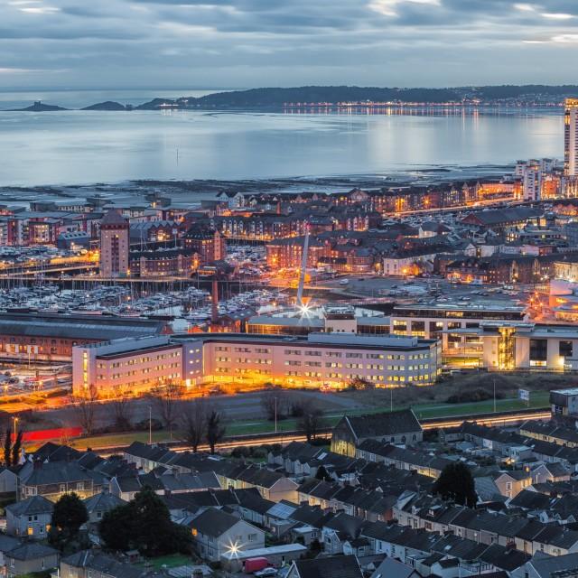 """Dusk at Swansea city"" stock image"