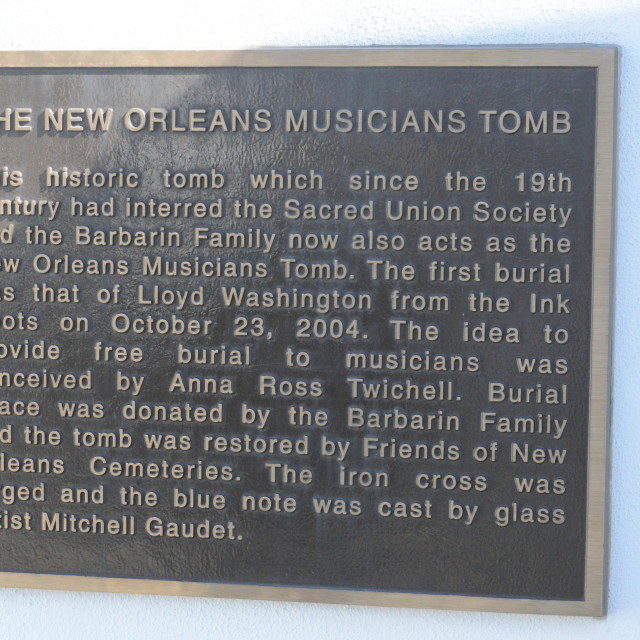 """Musicians Tomb Plaque"" stock image"