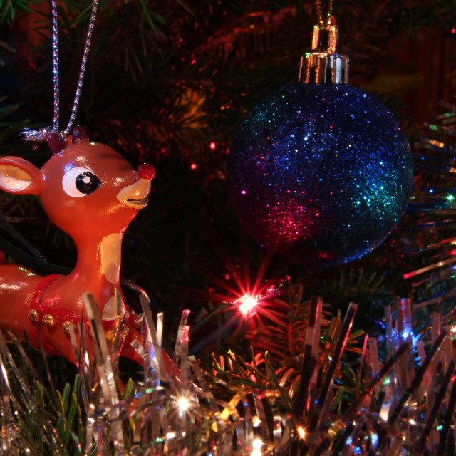 """""""Christmas Tree Ornaments and Lights with Rudolph Red Nosed Reindeer and Blue Ball"""" stock image"""