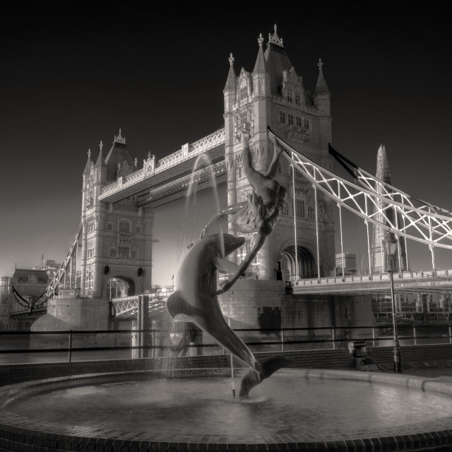 """Girl With Dolphin At Tower Bridge"" stock image"