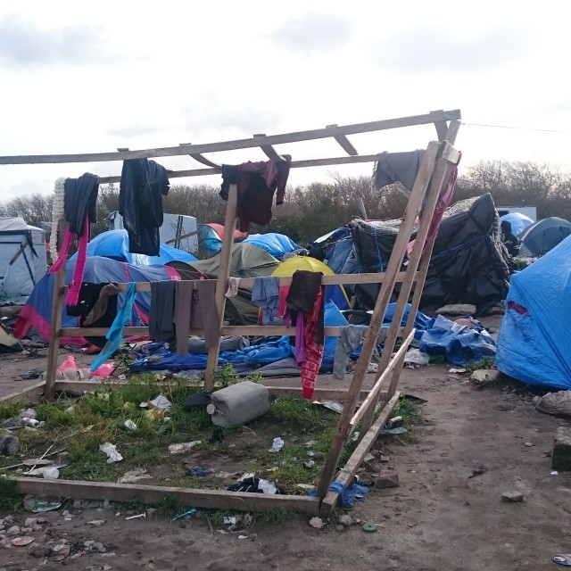 """Refugee jungle camp Calais"" stock image"