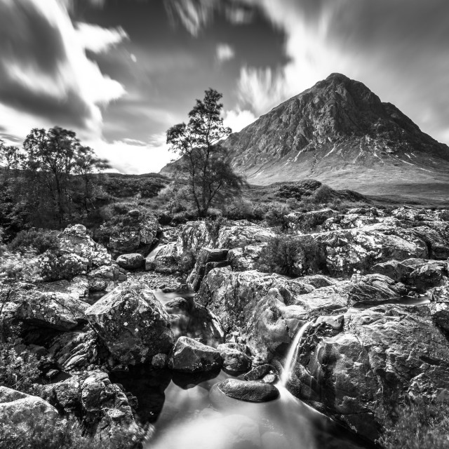 """Beauchaille Etive Mor - Black and White - Scotland Mountains - Glen Coe"" stock image"