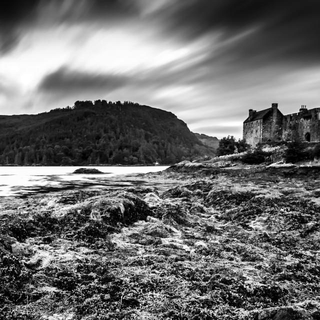 """Eilean Donan Castle - Highlands - Dornie - Scotand - Balack and White"" stock image"