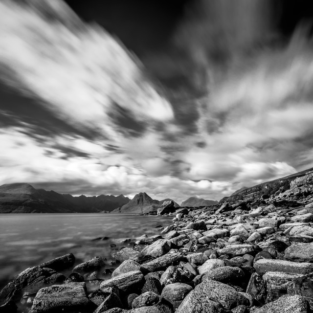 """""""Cullin Mountain Range as seen from Elgol Beach - Black and White"""" stock image"""