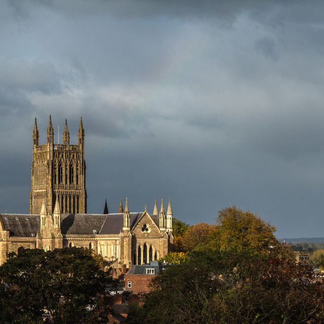 """""""Worcester Cathedral - Storm Light"""" stock image"""
