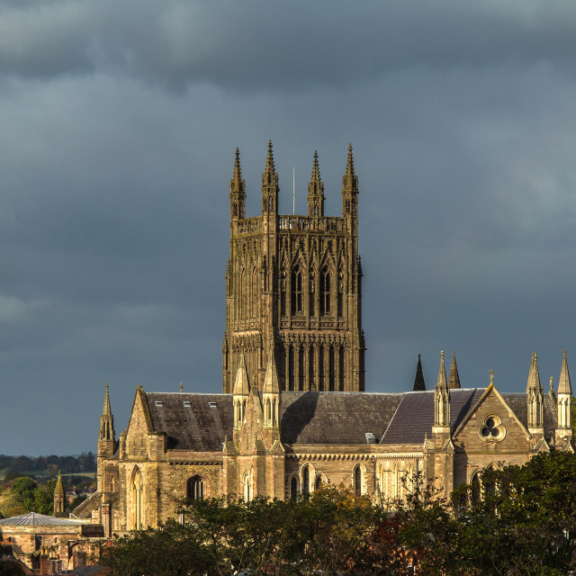 """""""Worcester Cathedral in Winter Light"""" stock image"""