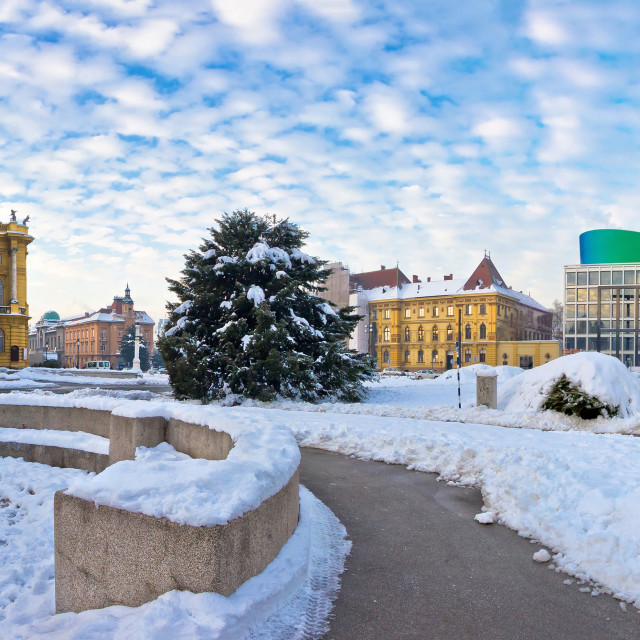 """Zagreb Marshal Tito square winter panorama"" stock image"