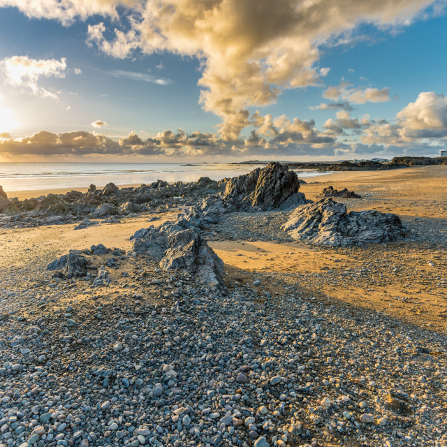 """""""Sunset at Rhosneigr, Isle of Anglesey."""" stock image"""