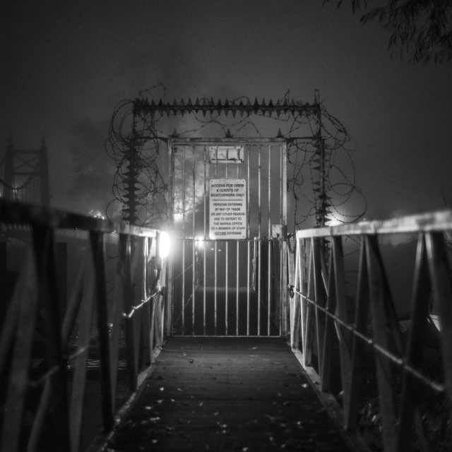 """Security gate in the mist"" stock image"