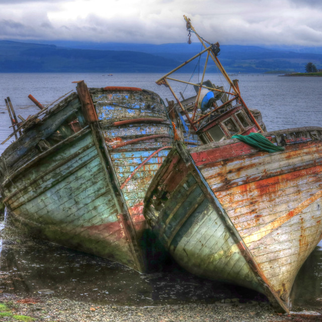 """Old Boats Salen Shore"" stock image"