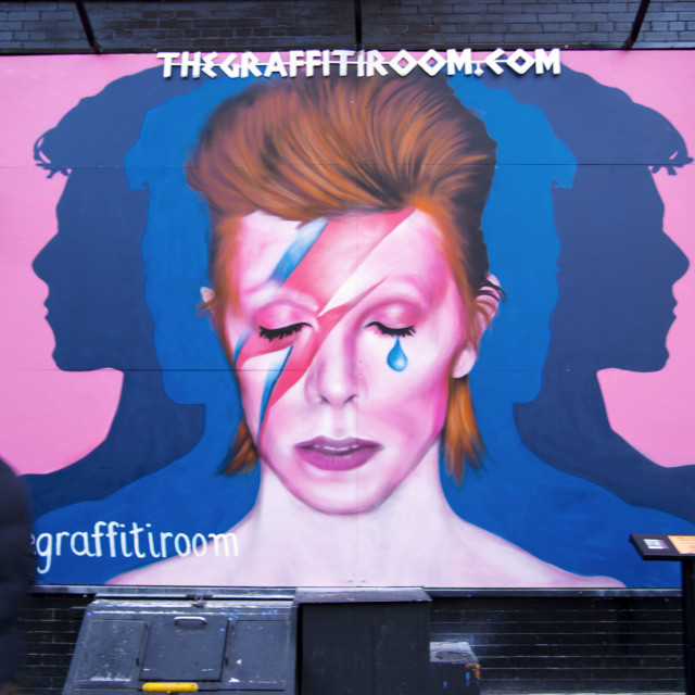 """David Bowie Mural NYC"" stock image"