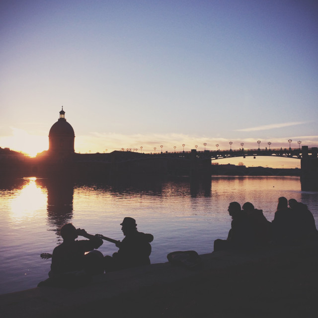 """sunset by the river"" stock image"