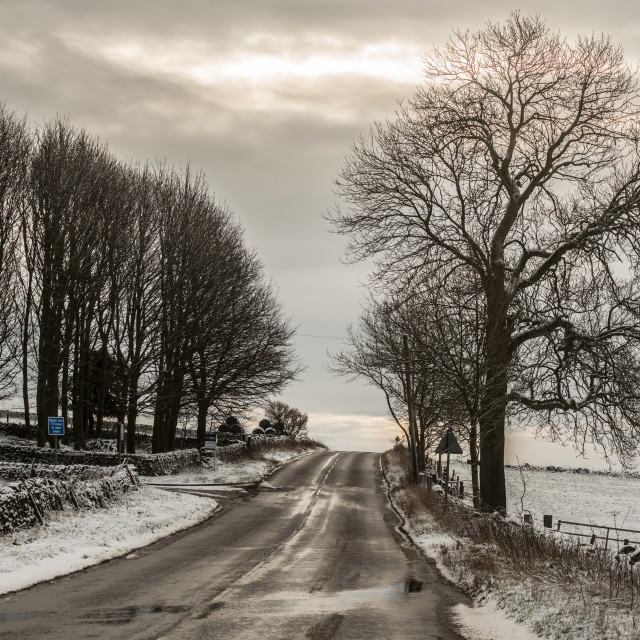 """Derbyshire Snowy Road"" stock image"