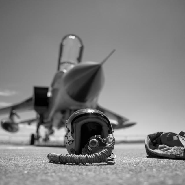 """Helmet and fighter jet"" stock image"