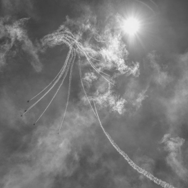 """Airshow: sky, sun and planes"" stock image"