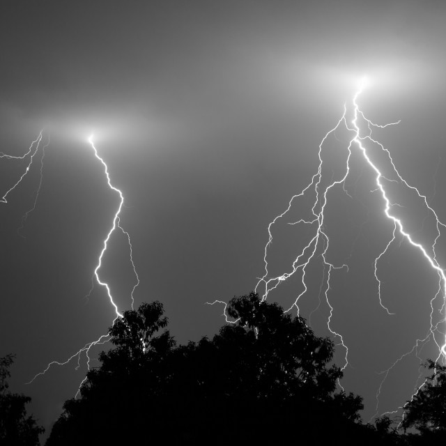 """Multiple lightning strikes"" stock image"