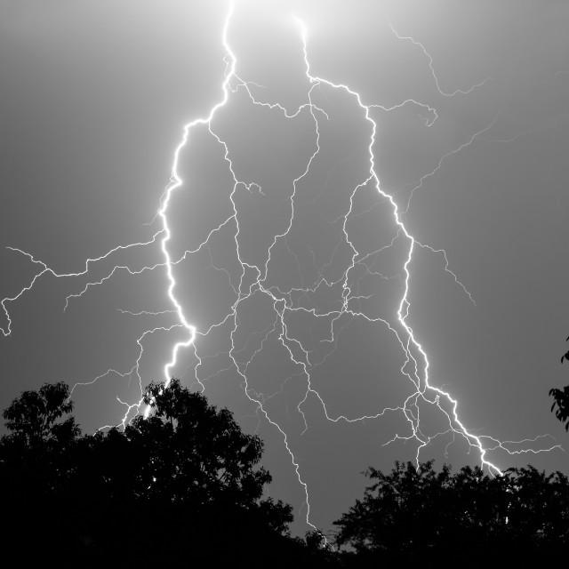 """Two lightning strikes"" stock image"
