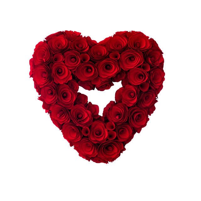 """""""Red painted wooden roses heart-shaped"""" stock image"""