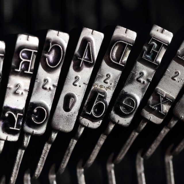 """""""Close up of the letters on an old typewriter"""" stock image"""
