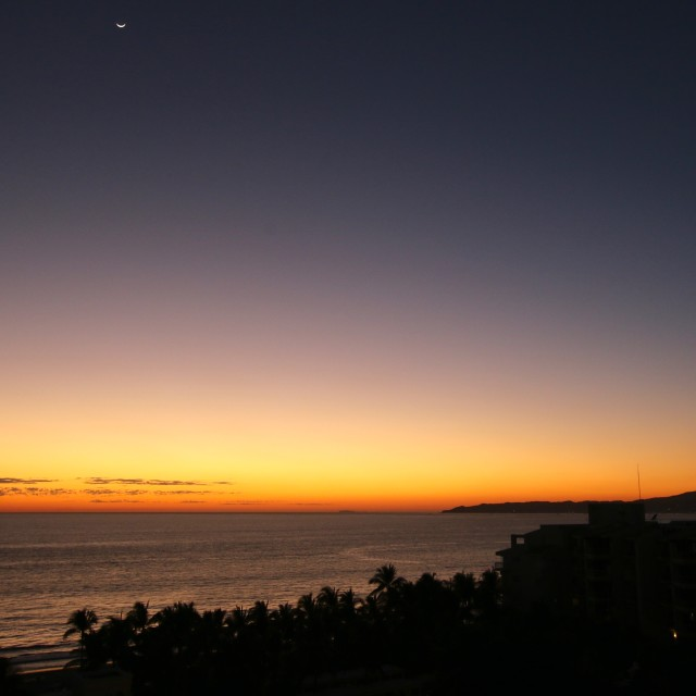 """""""sunset and moon pacific ocean"""" stock image"""
