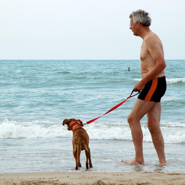 """Man with dog"" stock image"