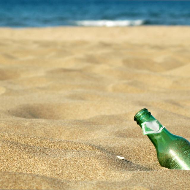 """bottle-beach"" stock image"