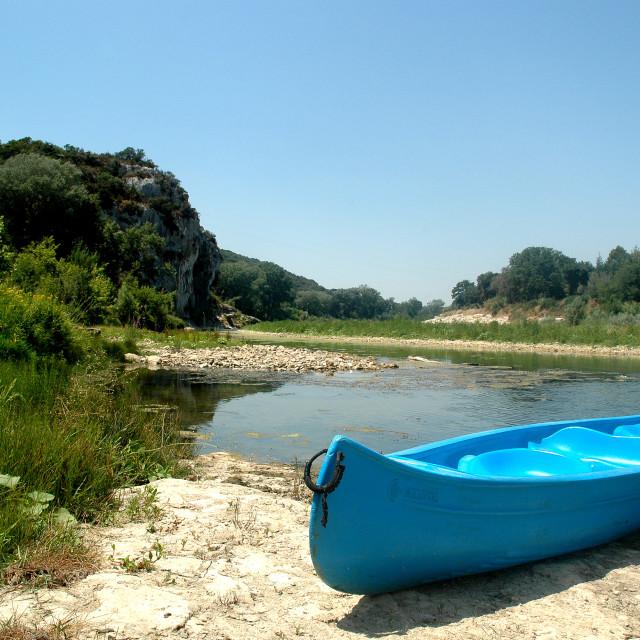 """""""Canoe in river"""" stock image"""