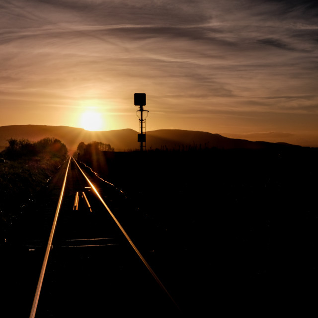 """Remote Railway Golden Sunset"" stock image"