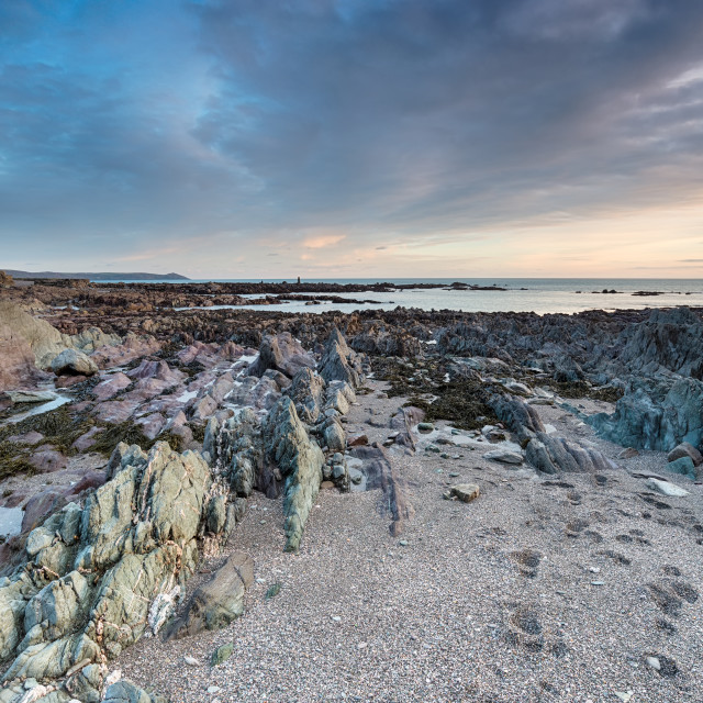 """""""Rocky Shore at Portwrinkle"""" stock image"""