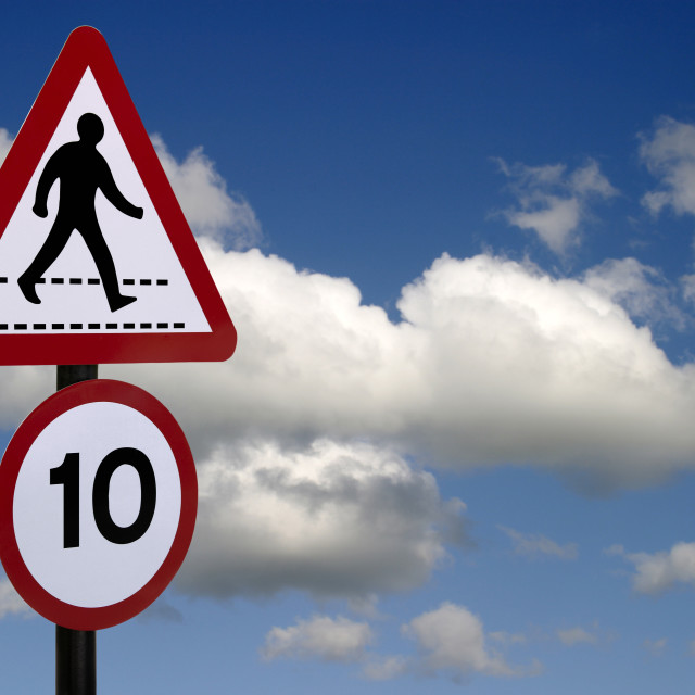 """""""Walking sign against sky background"""" stock image"""