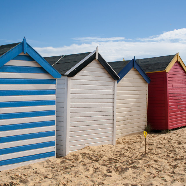 """Beach huts, Southwold, Suffolk"" stock image"