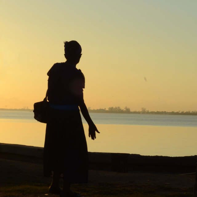 """""""Silhouette on the waterfront"""" stock image"""