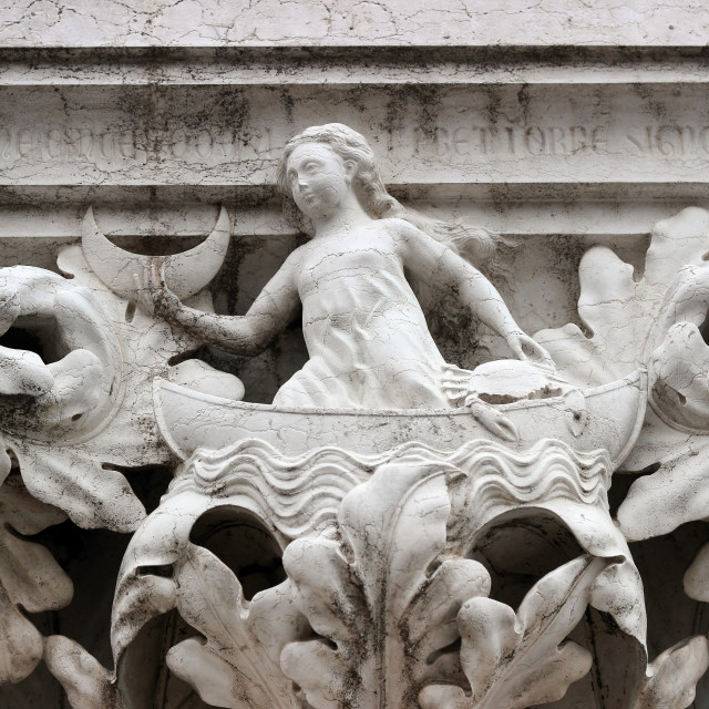 """""""Detail of the capital on a column of Ducal Palace"""" stock image"""