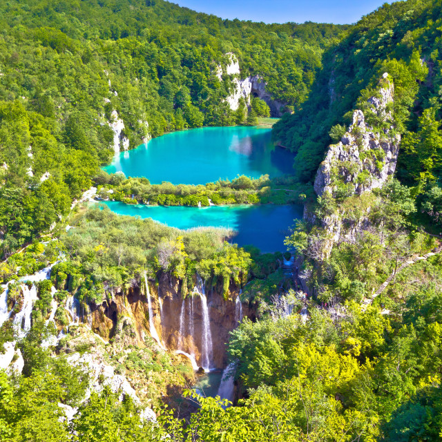 """Paradise waterfalls of Plitvice lakes national park"" stock image"