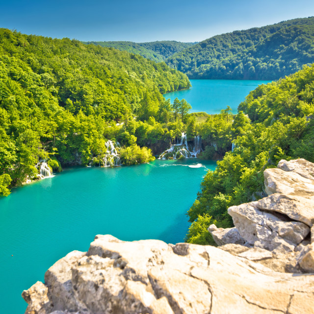 """Turquoise water of Plitvice lakes national park"" stock image"