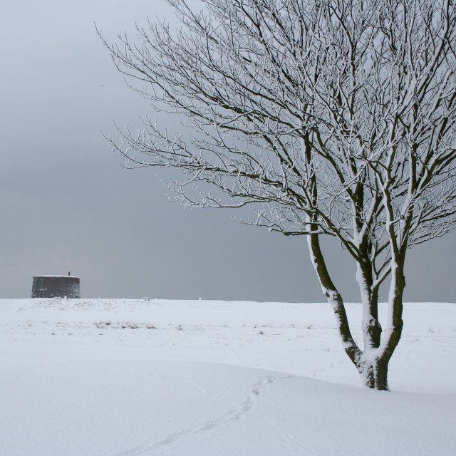 """Snowy Martello Tower, Felixstowe"" stock image"