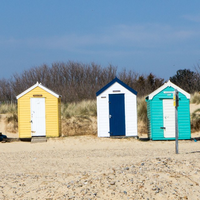 """""""Beach huts, Southwold"""" stock image"""