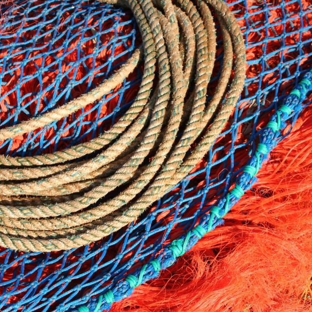 """Fishing nets, Harwich Pier"" stock image"