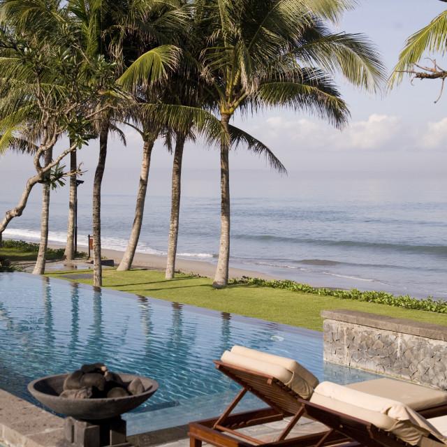 """tropical beach and swimmingpool"" stock image"