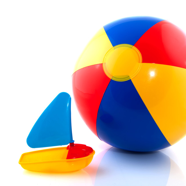 """Beach ball with boat"" stock image"