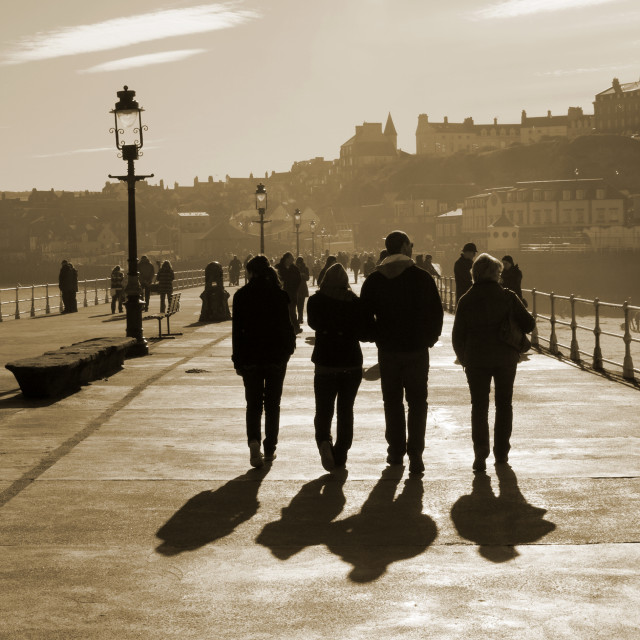 """Whitby Pier shadows"" stock image"
