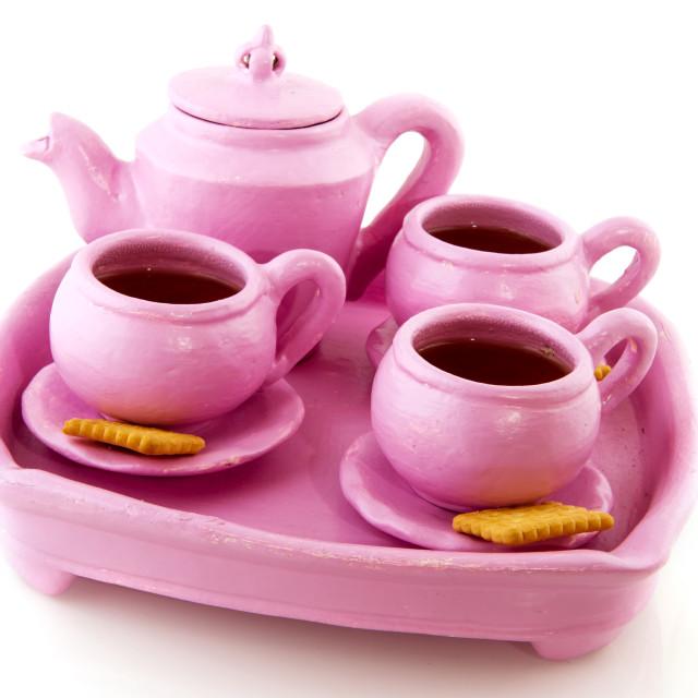 """Pink handcraft crockery"" stock image"
