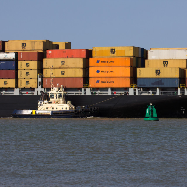 """Tug & Container Ship, Felixstowe"" stock image"