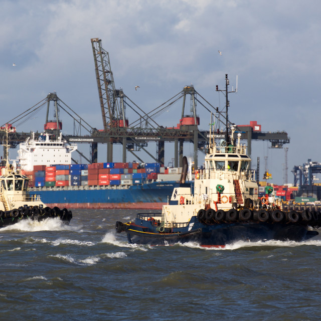 """Tugs at Felixstowe port, Suffolk"" stock image"