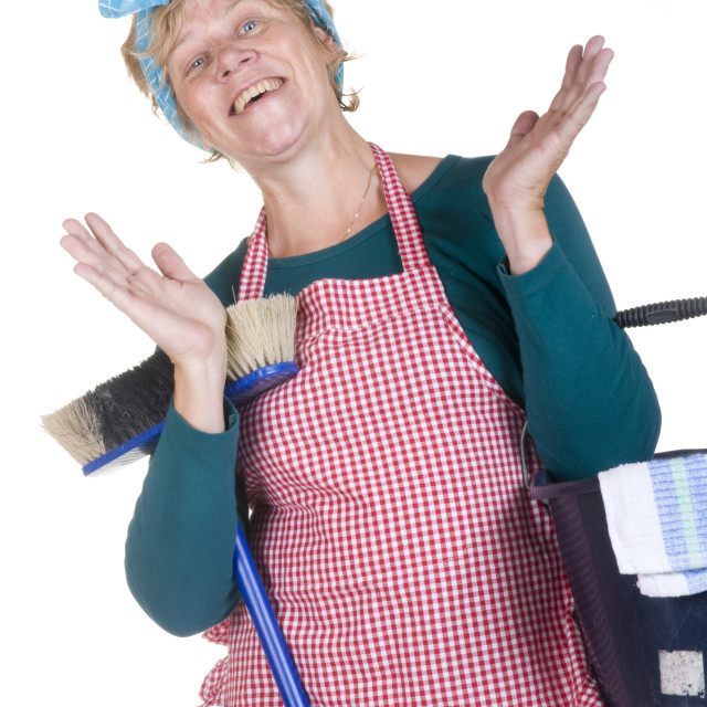 """""""Housewife cleaning"""" stock image"""
